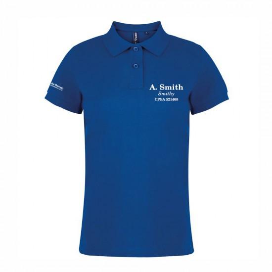 Womens Polo Shirt with embroidered name and optional FITASC line